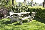 Picknicktisch 'Luxus' 180 cm inklusive 2 Rückenlehnen (patentiert), schwerlast Picknicktisch aus 40 mm FSC Fichtenholz, druckimprägniert