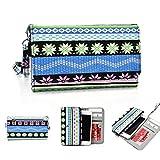 Kroo Handy, der Wristlet Ledertasche mit Kreditkarte Halter passt für Karbonn Sparkle V/Titan S99 mehrfarbig blau