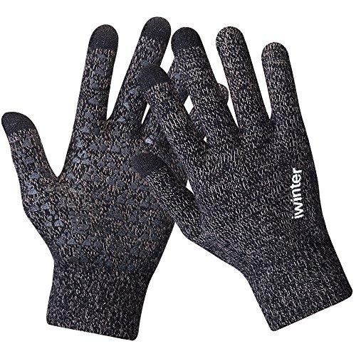 Winter Knit Gloves,Anqier Windproof Touchscreen Warm Hand Gloves for Men & Women (Men, Grey)