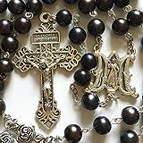 Elegantmedical Handmade nero AAA9–10mm vera perla & rosa perline 5decennio rosario croce crocifisso collana scatola da uomo donna religioni regali