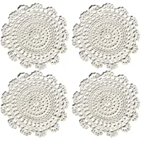"""Ambielly rotonda Handmade Crochet del cotone del merletto Tabella Tovagliette centrini, Value Pack / 4 pezzi, (25 centimetri / 9.8 """", Bianco)"""