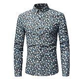 MEIbax Herren Hemd Mann Retro Floral Printed Bluse beiläufige Lange Hülsen-dünne Hemd Oberseiten Freizeithemd Langarmshirt Slim Hemd(Hellblau,XL)