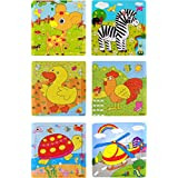 Akrobo Wood Jigsaw Puzzles For Children- Pack Of 6 Different Patterns With 9 Piece Puzzle In A Frame Board ( Random Design )