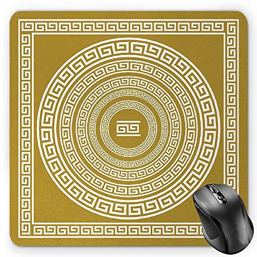 HYYCLS Greek Key Mauspads, Frieze with Vintage Ornament Meander Pattern from Greece Retro Twist Lines, Standard Size Rectangle Non-Slip Rubber Mousepad, Goldenrod White