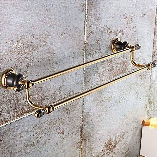 Cobre Negro Oro viejo Barra doble Toallero Baño Toalleros de pared doble Bastidores 62Cm,A