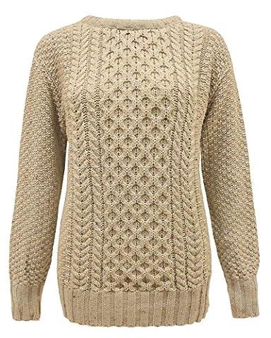 New Ladies Women Aran Knit Long Sleeve Crew Neck Knitted