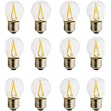 Lampadina in vetro trasparente, a LED, E27 (2 W, 4 W, 6 W), corrente alternata 220 V, luce bianca calda G45, 12 Stück…
