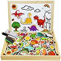 Cooljoy Wooden Magnetic Board Puzzle Games, 118 PCS Double Sided Jigsaw Dinosaur Pattern Drawing Easel Blackboard Educational Wood Toys for Boys Girls Kids Toddler Over 3 Year Olds