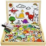 Cooljoy Bois Magnétique Puzzle, 118 Pièces Motif Dinosaure Jigsaw avec Tableau Noir de Chevalet à Double Face Jouets Educatif pour Bambin Enfants Fille 3+ Ans