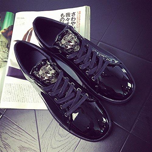 Raven shop Uomo Patent Sneakers Lacci Scarpe da Corsa Flats Leopardo 39-44 Nero Blu Dorato Argento Nero