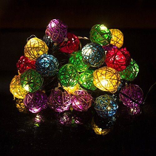 H&D Youngsun® 30er LED Solar Lichterkette Rattan 6,35 Meter Außen Innen Outdoor Garten Warmweiß Kugel Fairy Light Party Fest Deko Weihnachten Hochzeit Beleuchtung