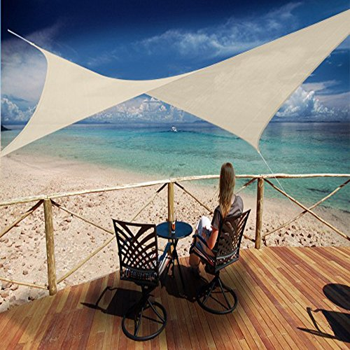 PEGANE Voile d'ombrage carrée Sable Ajouré en Polyéthylène tressé 185 grs/m² Anti-UV, 500 x 500 cm