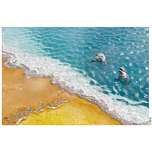 Pingenaneer 3D Boden Dekor Wandaufkleber Abnehmbare Kinderzimmer Babyzimmer Wandtattoo Wandsticker Vinyl Kunst Wohnzimmer Dekoration 60 x 90cm - Delphin