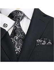 Landisun - Corbata - para hombre Negro negro