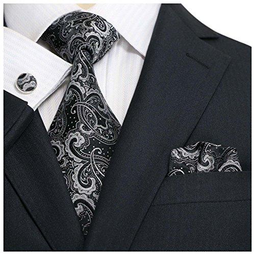 landisun Paisley, Set de Cravates Homme 31E noir