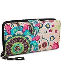 styleBREAKER monedero con motivo de flores étnicas y floración, diseño vintage, cremallera, mujeres 02040040