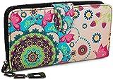 styleBREAKER monedero con motivo de flores étnicas y floración, diseño vintage, cremallera, mujeres 02040040, color:Rosa-Verde-Turquesa-Fucsia