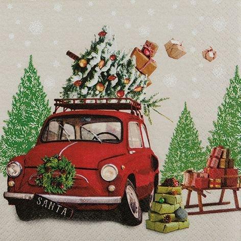 Serviette Weihnachten Auto mit Geschenken Weihnachtsmann Geschenke mit Setita® Menükarte