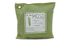 Le Sac MOSO (La Borsa MOSO) - Purificatore dell'aria, Deodorante, Deumidificatore, Naturale e Inodore - contiene il 100% Carbone di bambù - 500 Gr - Verde