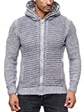 Herren Strickjacke warme Kapuzenjacke Fell-Kapuze Winter-Jacke RS-18002 Grau L