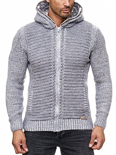 Herren Strickjacke Warme Kapuzenjacke Fell-Kapuze Winter-Jacke RS-18002 Grau XL