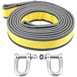 Akozon Car Trailer Jumper Cable Towing Rope Recovery Tow Strap 8 Tons 4 Meters With U-Shape Hooks Light Reflection