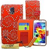 Accessory Master Custodia Libro Portafoglio Rossa in pu Pelle per Samsung Galaxy S5 G900f/G900h - Diamanti