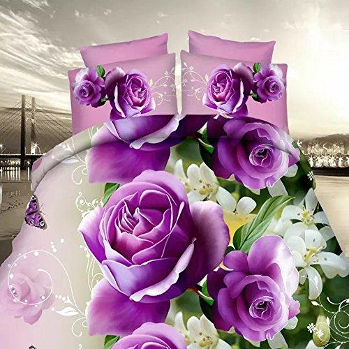 Tinghan 4Romantische Lila Rose 3D Prints Bettbezug Set für Doppelbett Größe -