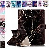 E-Mandala Universal 7 Zoll Hülle Etui Flip Case Leder Wallet Cover Tablet PC Tasche mit Kartenfach Klapphülle Ledertasche Lederhülle - Schwarz
