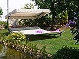Beauty.Scouts Doppelliege 'Surana II' Liege Gartenliege Sonnenliege Gartenliege mit Sonnenschirm 200 x 110 x 200 cmGarten Anthrazit - Polyester Natur-Grau