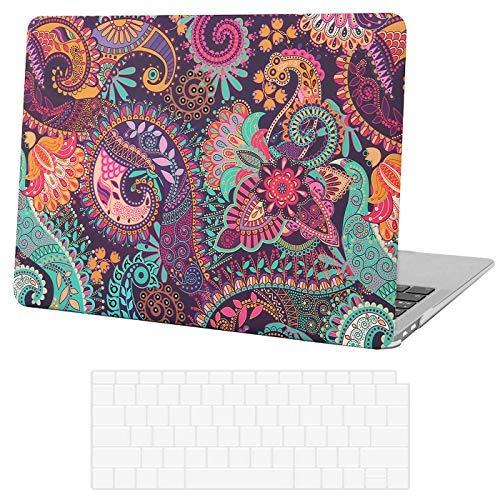 HDE Schutzhülle für MacBook Air 33 cm (13 Zoll) 2018 [A1932] Designer Print Cover Hard Shell Keyboard Skin für Apple MacBook Air 13 mit Retina Display Touch ID violett Purple Paisley 13 Inches Designer Print-cover