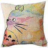 Elviros Coton Lin Blend Décoratif Housse de Coussin 45x45 cm [ 18x18'' ] Totoro
