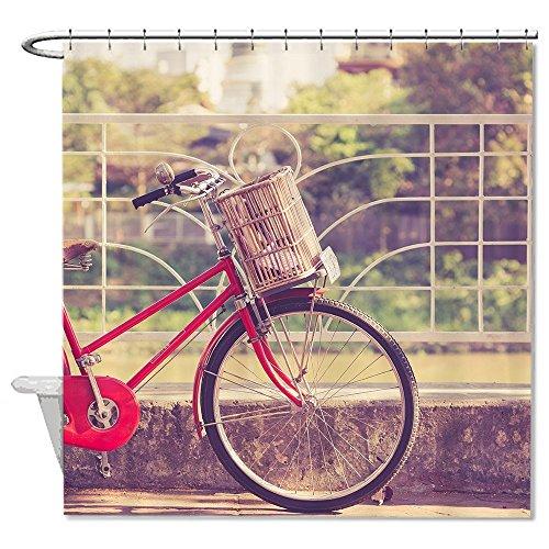 rioengnakg Vintage rot Fahrrad mit Ein Korb Polyester Duschvorhang Liner Mehltau wasserdicht bis, Polyester, #1, 66