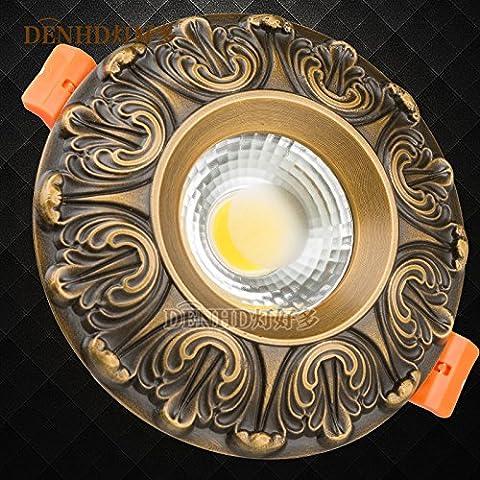 Via Light-Copper lampada LED continentale vintage 5W faretto a LED da incasso a soffitto americano di luce Luce fori da soffitto,bianco