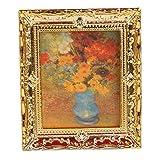 TOOGOO(R) 1:12 Or Cadre en plastique Fleurs peintres a l'huile miniature maison de poupee Meubles
