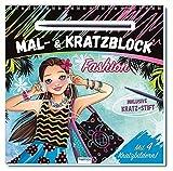 Mal- und Kratzblock 'Fashion': mit 4 Kratzbildern und Kratzstift (Topmodels & Fashion)