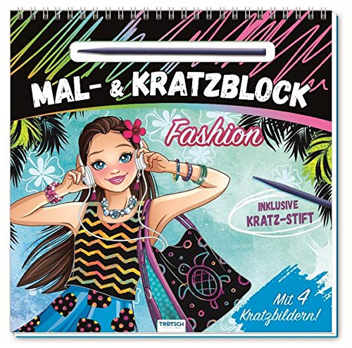 """Mal- und Kratzblock """"Fashion"""": mit 4 Kratzbildern und Kratzstift (Topmodels & Fashion)"""