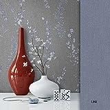 NEWROOM Blumentapete Grau Vliestapete Muster/Motiv schöne moderne und edle Design Optik, inklusive Tapezier Ratgeber