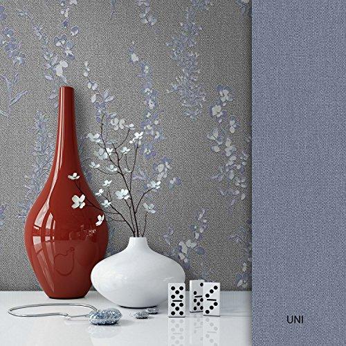 NEWROOM Blumentapete Grau Vliestapete Muster/Motiv schöne moderne und edle Design Optik, inklusive...