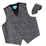 EGD1B02D-L Grey Black Patterns Microfiber Dress Tuxedo Waistcoats Vest Neck Tie Set Online Shopping For Bridegrooms By Epoint