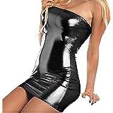 VicSec Una Pieza Vestido Charol Erótica, Súper Elástica Sexy Lencería Falda de PU Cuero de Patente Brillante Protección Ambie