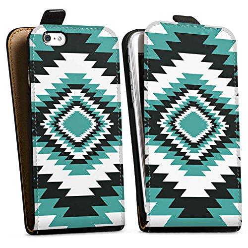 Apple iPhone X Silikon Hülle Case Schutzhülle Ethno Azteken Zick-Zack Downflip Tasche schwarz