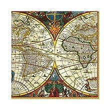 Caspari Paquet de 20 Serviettes Luncheon World Map, Tissu, Multicolore, 16,5x16,5x0,02 cm