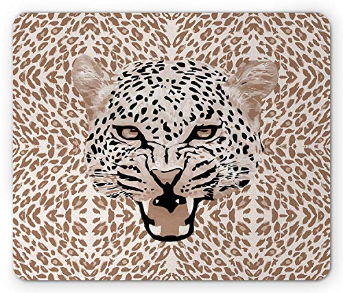 WYICPLO Modern Mouse Pad, Roaring Leopard Portrait with Rosettes Wild African Animal Big Cat Graphic, Standard Size Rectangle Non-Slip Rubber Mousepad, Cocoa Beige Black Leopard Rosette