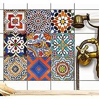 Carrelage adhesif - stickers salle de bain et cuisine | Feuille adhésive décorative carreaux - Mosaïque carrelage mural | Stickers carrelage - Design Carreaux Portugais - 10x10 cm - 9 pièces