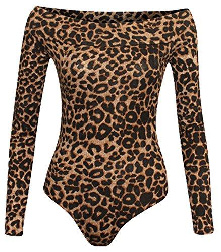 Bodi elástico para Mujer - Escote Bardot y Manga Larga - Color Liso - Estampado de Leopardo marrón - M/L - UK 12-14/EU 40-42