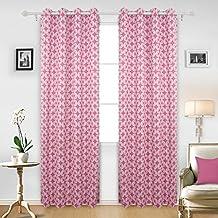 Deconovo Cortinas con Diseño Geométrico para el Dormitorio con Ojales 140 x 245 cm 2 Piezas Rosa