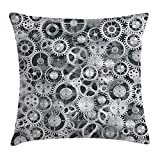 Clock Throw Pillow Cushion Cover, Realistic Look Cogwheels Mechanism Gear Engineering and Technologic Themed Pattern, Decorative Square Accent Pillow Case,Grey Silver 16X16 inches