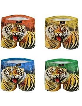 4 pack Uomo Pantaloncini Boxer Cotone Confortevole Traspirante Moda Tigre Stampa Biancheria Intima