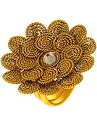 Anuradha Art Golden Colour Studded Stone Wonderful Traditional Finger Ring For Women/Girls